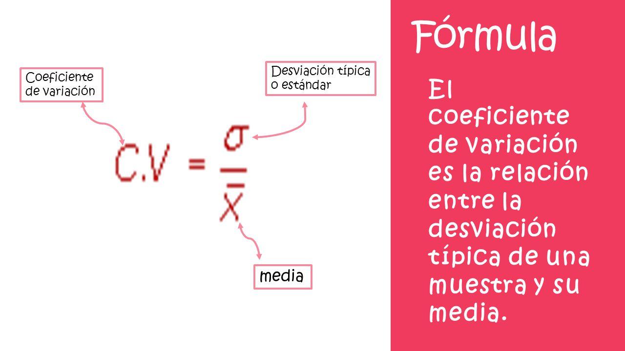 Fórmula Desviación típica o estándar. Coeficiente de variación.