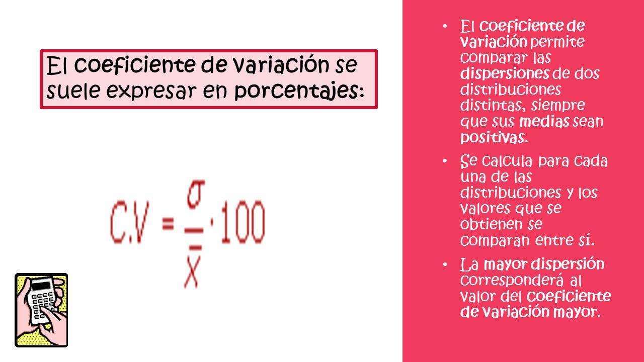 El coeficiente de variación se suele expresar en porcentajes: