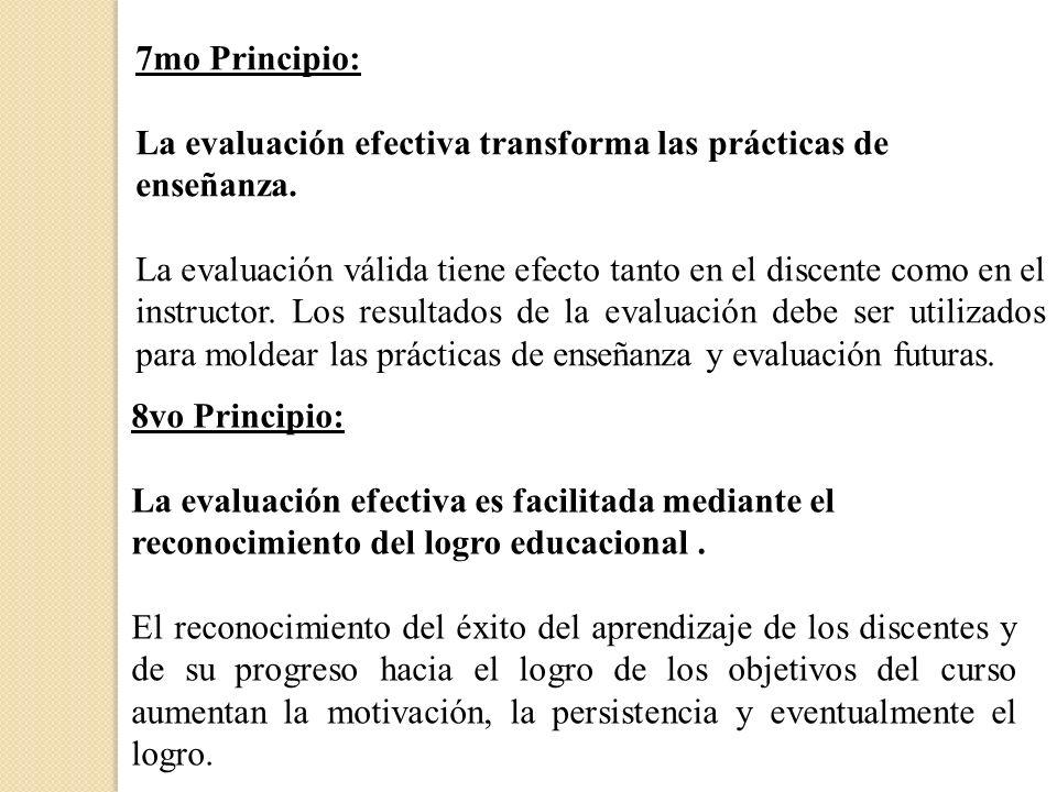 7mo Principio:La evaluación efectiva transforma las prácticas de enseñanza.