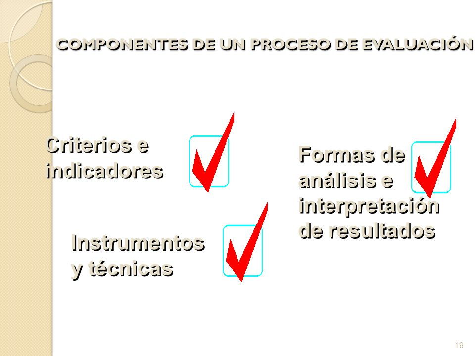 COMPONENTES DE UN PROCESO DE EVALUACIÓN