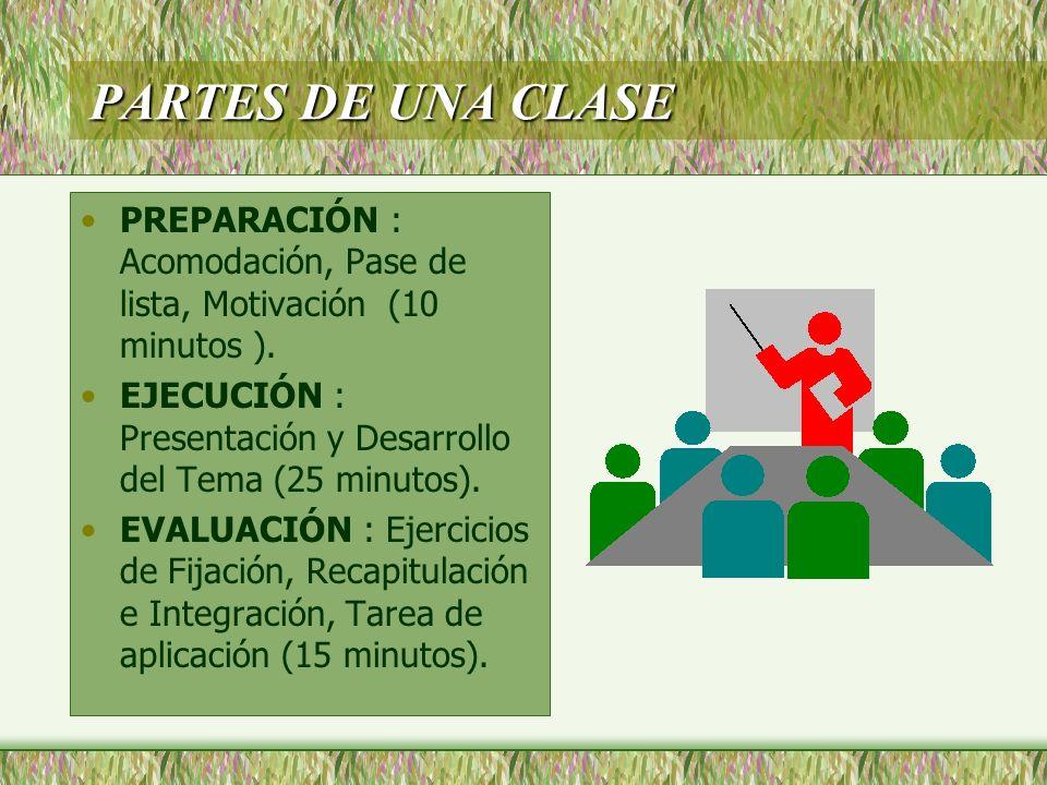 PARTES DE UNA CLASEPREPARACIÓN : Acomodación, Pase de lista, Motivación (10 minutos ). EJECUCIÓN : Presentación y Desarrollo del Tema (25 minutos).