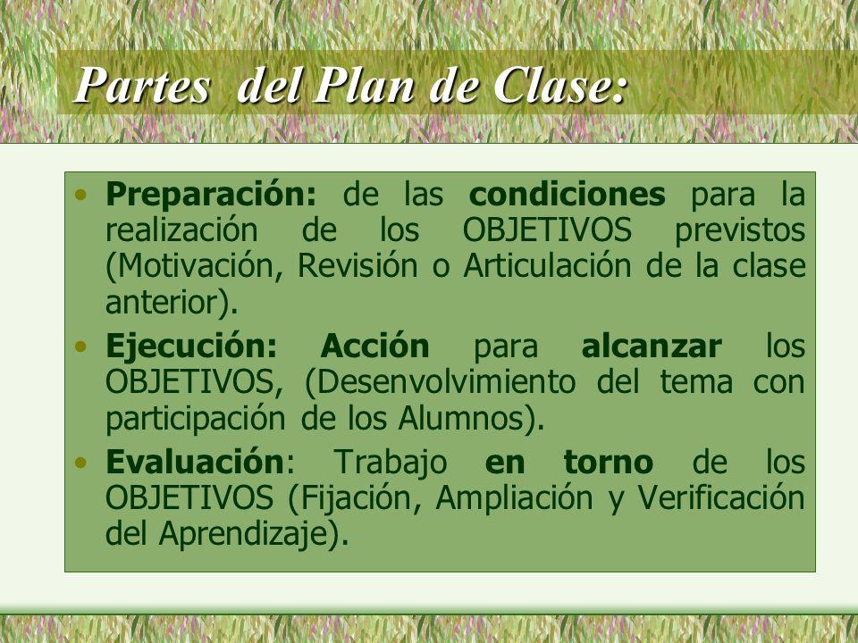 Partes del Plan de Clase:
