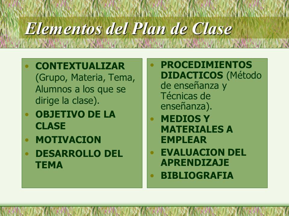 Elementos del Plan de Clase
