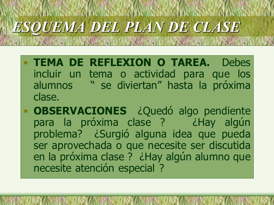 ESQUEMA DEL PLAN DE CLASE