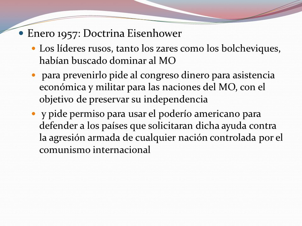 Enero 1957: Doctrina Eisenhower