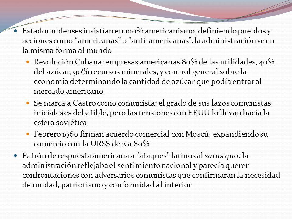 Estadounidenses insistían en 100% americanismo, definiendo pueblos y acciones como americanas o anti-americanas : la administración ve en la misma forma al mundo