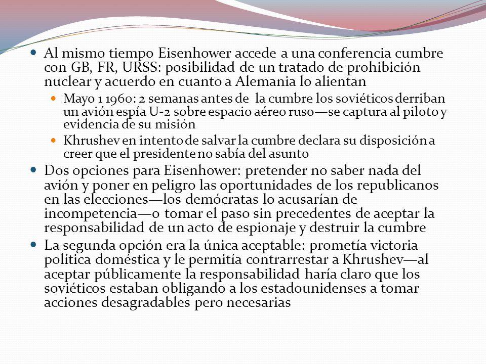 Al mismo tiempo Eisenhower accede a una conferencia cumbre con GB, FR, URSS: posibilidad de un tratado de prohibición nuclear y acuerdo en cuanto a Alemania lo alientan