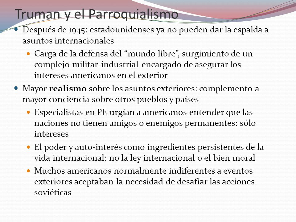 Truman y el Parroquialismo