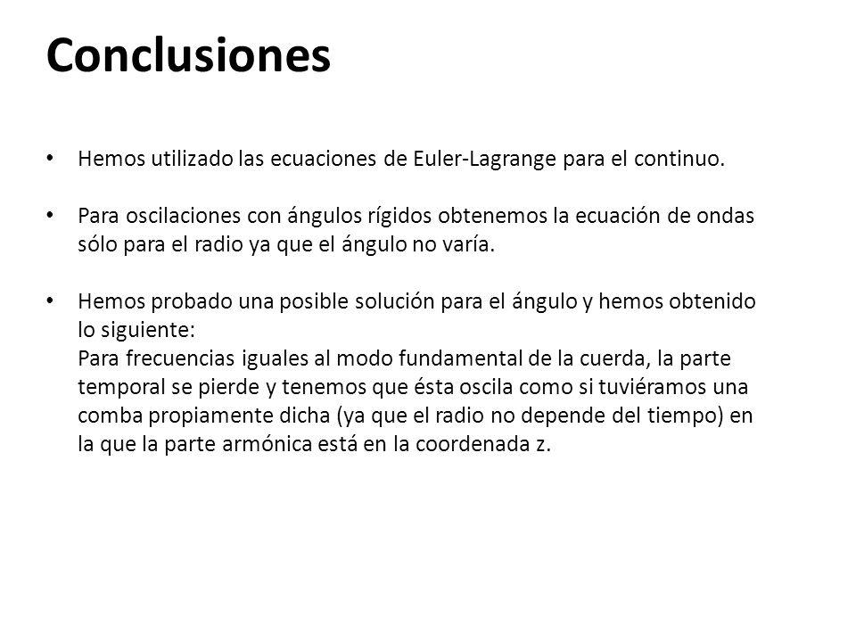Conclusiones Hemos utilizado las ecuaciones de Euler-Lagrange para el continuo.