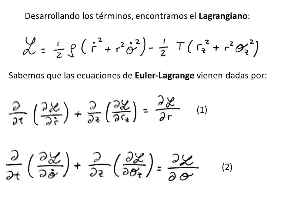 Desarrollando los términos, encontramos el Lagrangiano: