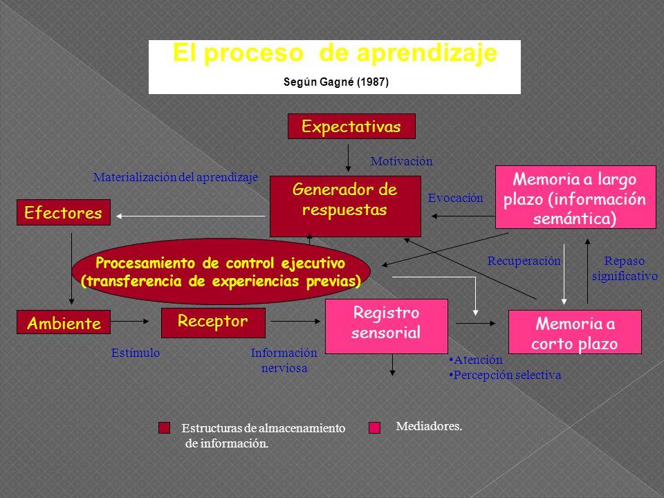El proceso de aprendizaje Según Gagné (1987)