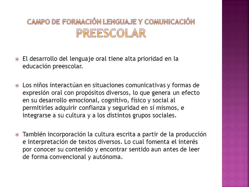 Campo de formación Lenguaje y comunicación preescolar