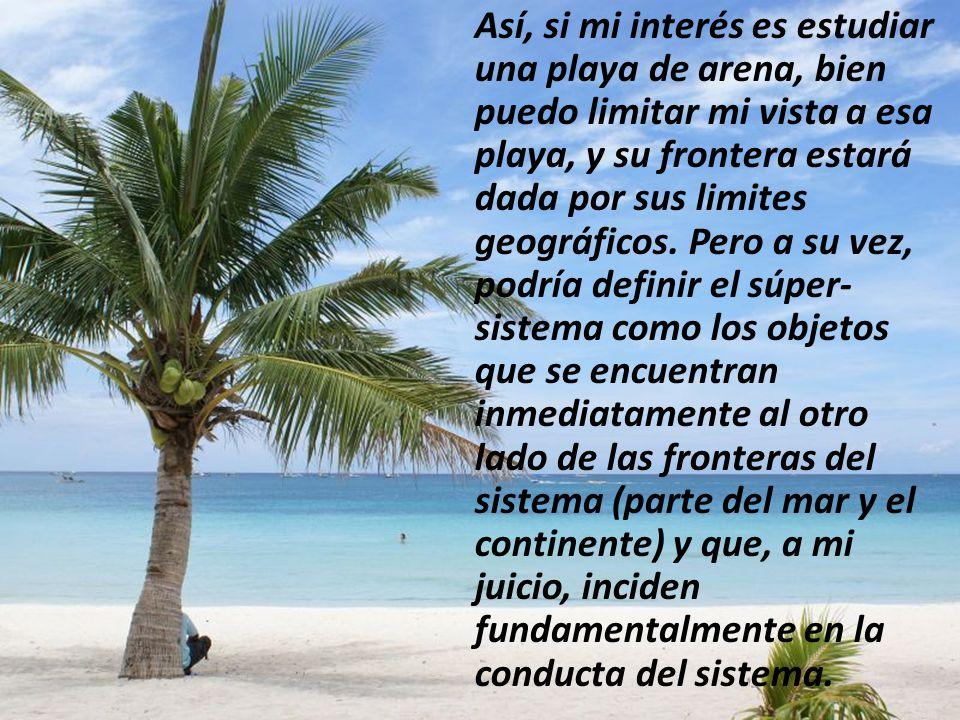 Así, si mi interés es estudiar una playa de arena, bien puedo limitar mi vista a esa playa, y su frontera estará dada por sus limites geográficos.