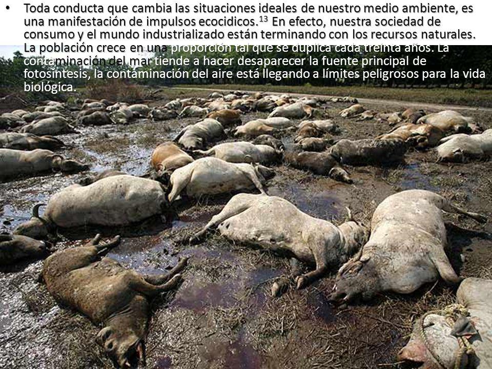 Toda conducta que cambia las situaciones ideales de nuestro medio ambiente, es una manifestación de impulsos ecocidicos.13 En efecto, nuestra sociedad de consumo y el mundo industrializado están terminando con los recursos naturales.