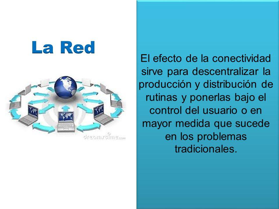 El efecto de la conectividad sirve para descentralizar la producción y distribución de rutinas y ponerlas bajo el control del usuario o en mayor medida que sucede en los problemas tradicionales.