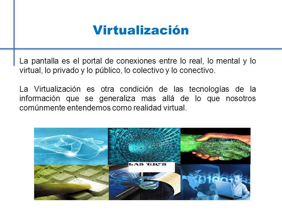 Virtualización La pantalla es el portal de conexiones entre lo real, lo mental y lo virtual, lo privado y lo público, lo colectivo y lo conectivo.