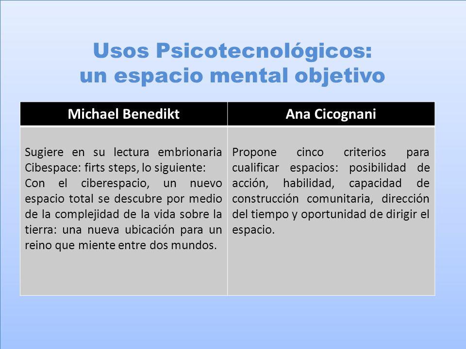 Usos Psicotecnológicos: un espacio mental objetivo