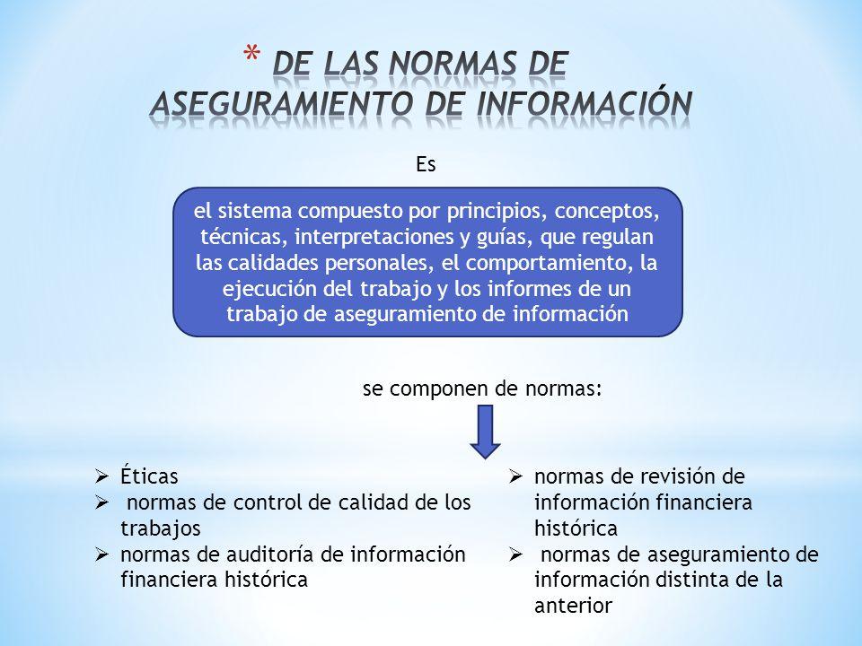 DE LAS NORMAS DE ASEGURAMIENTO DE INFORMACIÓN