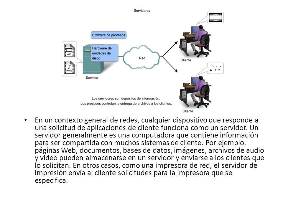 En un contexto general de redes, cualquier dispositivo que responde a una solicitud de aplicaciones de cliente funciona como un servidor.