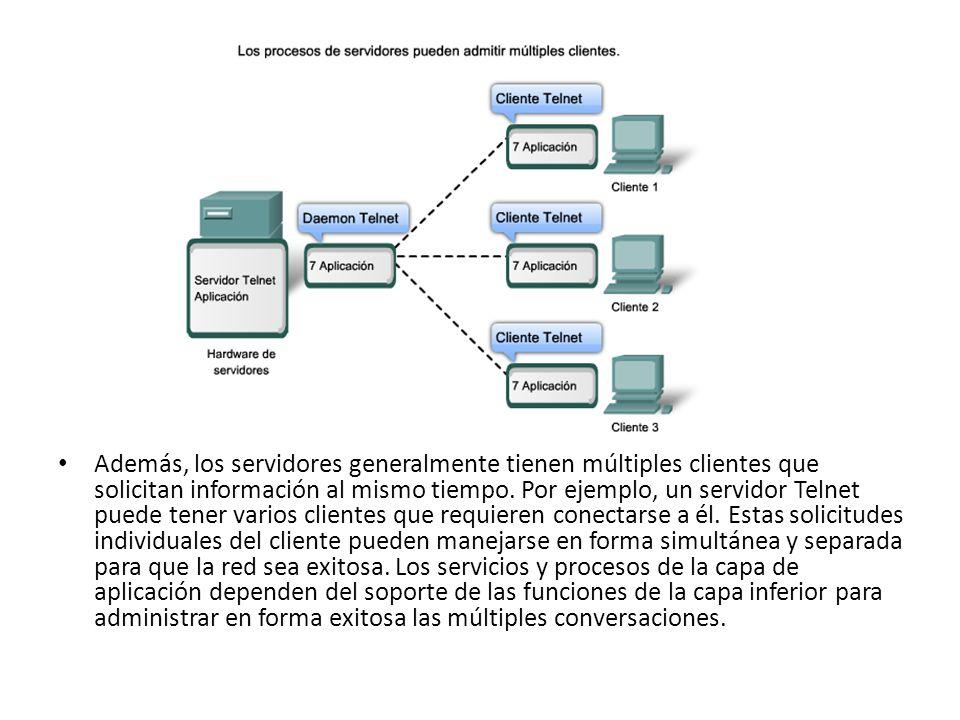 Además, los servidores generalmente tienen múltiples clientes que solicitan información al mismo tiempo.