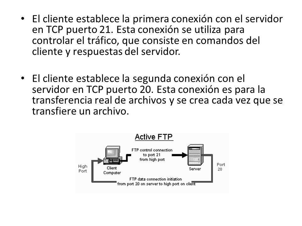 El cliente establece la primera conexión con el servidor en TCP puerto 21. Esta conexión se utiliza para controlar el tráfico, que consiste en comandos del cliente y respuestas del servidor.
