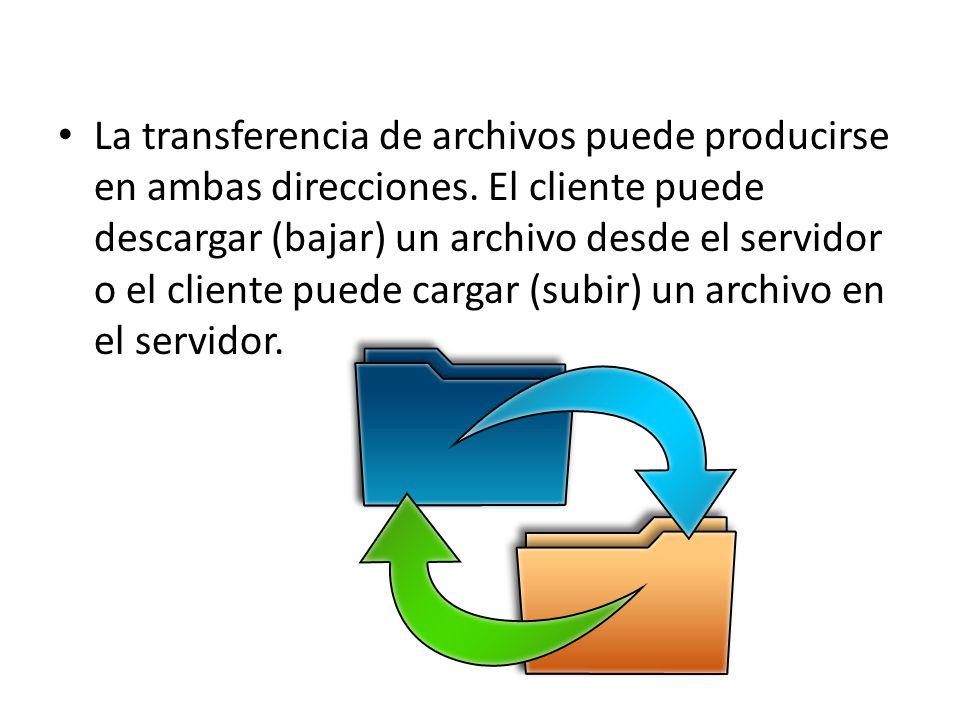 La transferencia de archivos puede producirse en ambas direcciones