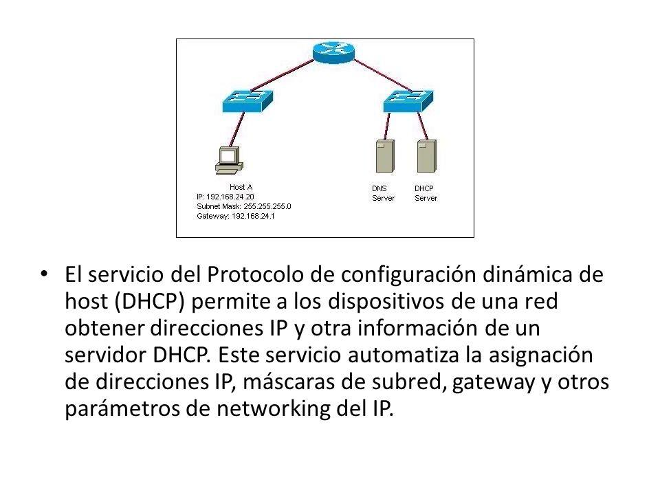 El servicio del Protocolo de configuración dinámica de host (DHCP) permite a los dispositivos de una red obtener direcciones IP y otra información de un servidor DHCP.