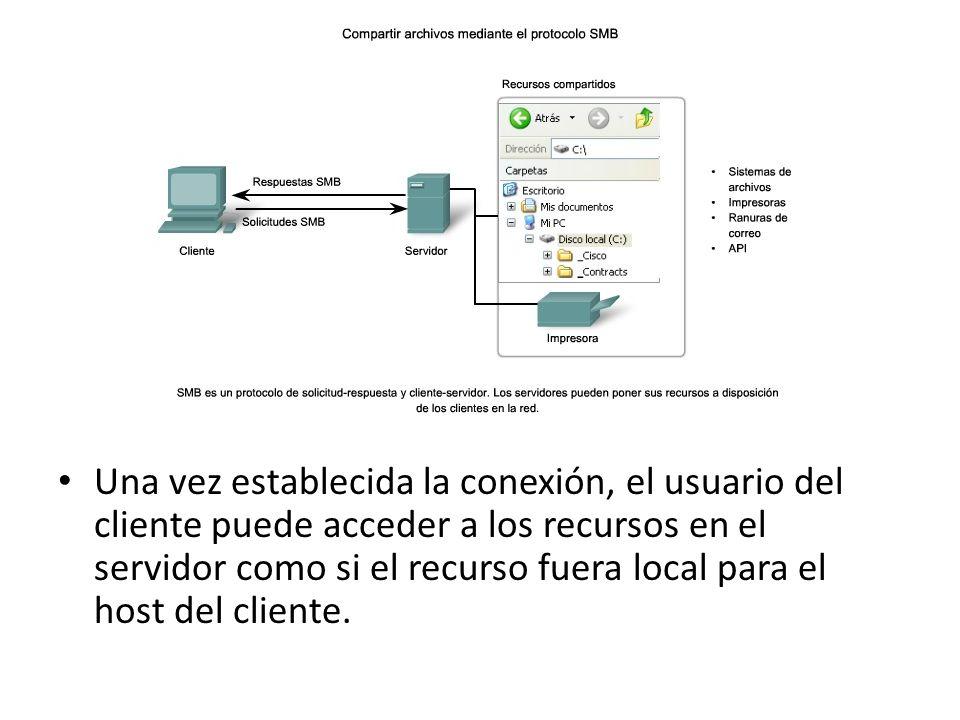 Una vez establecida la conexión, el usuario del cliente puede acceder a los recursos en el servidor como si el recurso fuera local para el host del cliente.