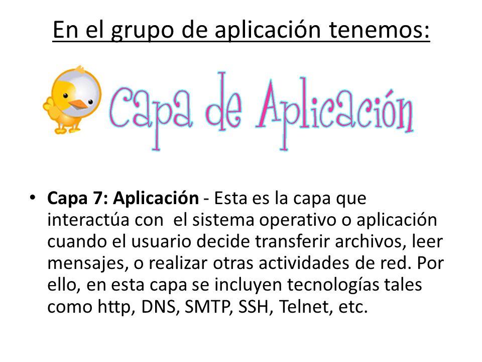 En el grupo de aplicación tenemos: