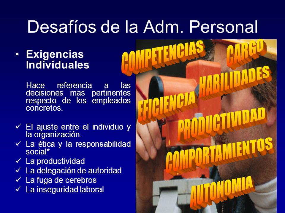 Desafíos de la Adm. Personal