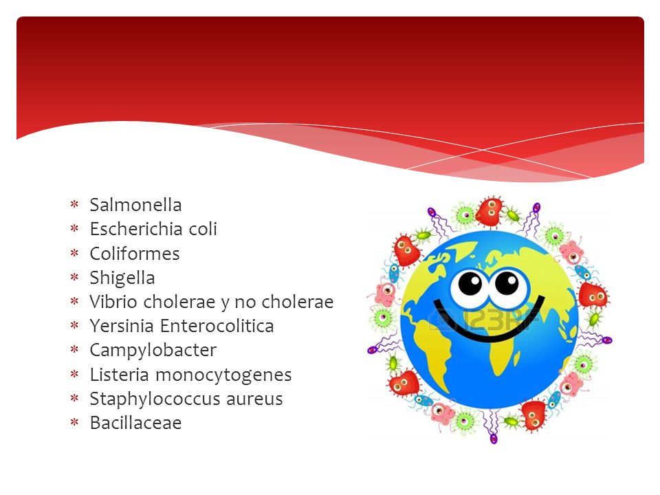 Salmonella Escherichia coli. Coliformes. Shigella. Vibrio cholerae y no cholerae. Yersinia Enterocolitica.