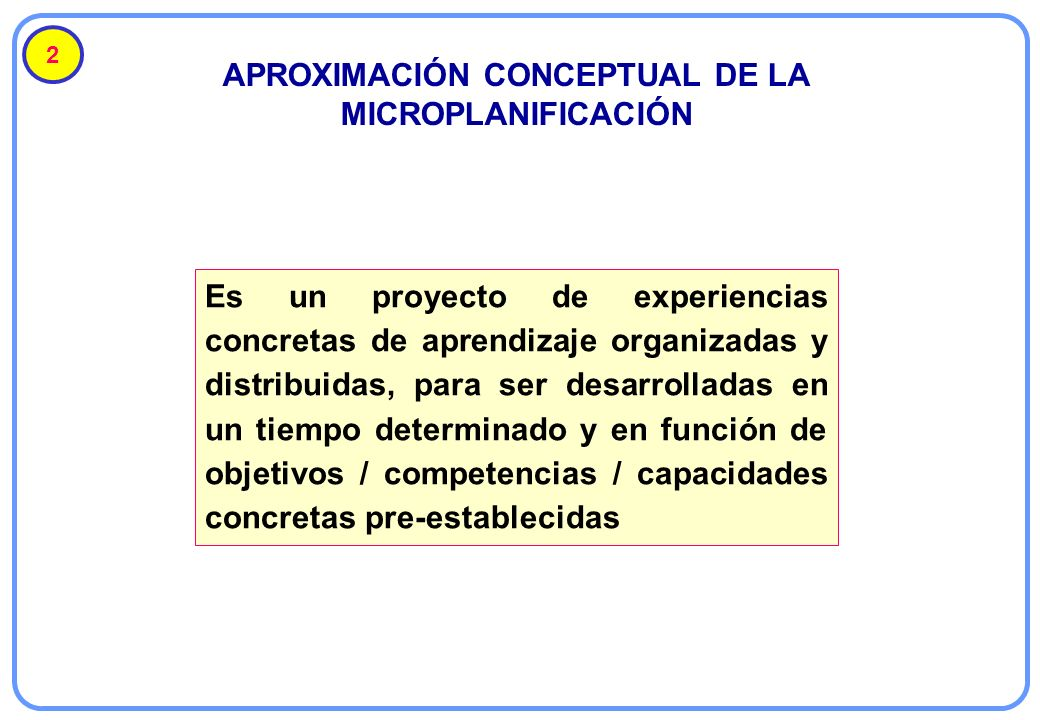 APROXIMACIÓN CONCEPTUAL DE LA MICROPLANIFICACIÓN