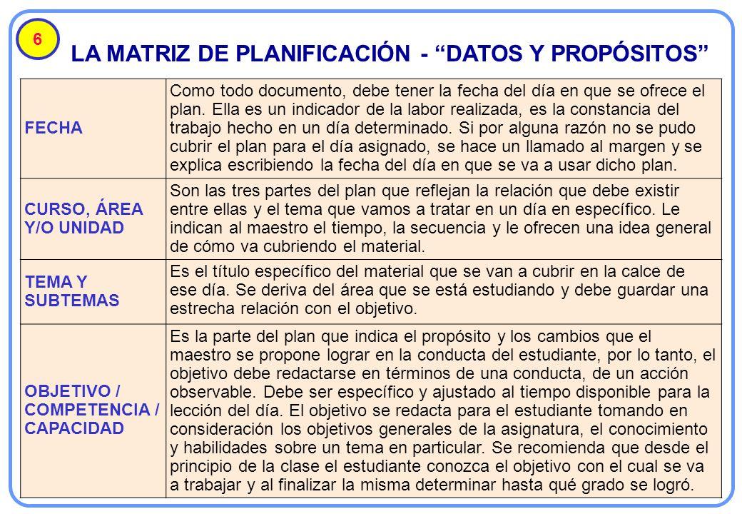 LA MATRIZ DE PLANIFICACIÓN - DATOS Y PROPÓSITOS