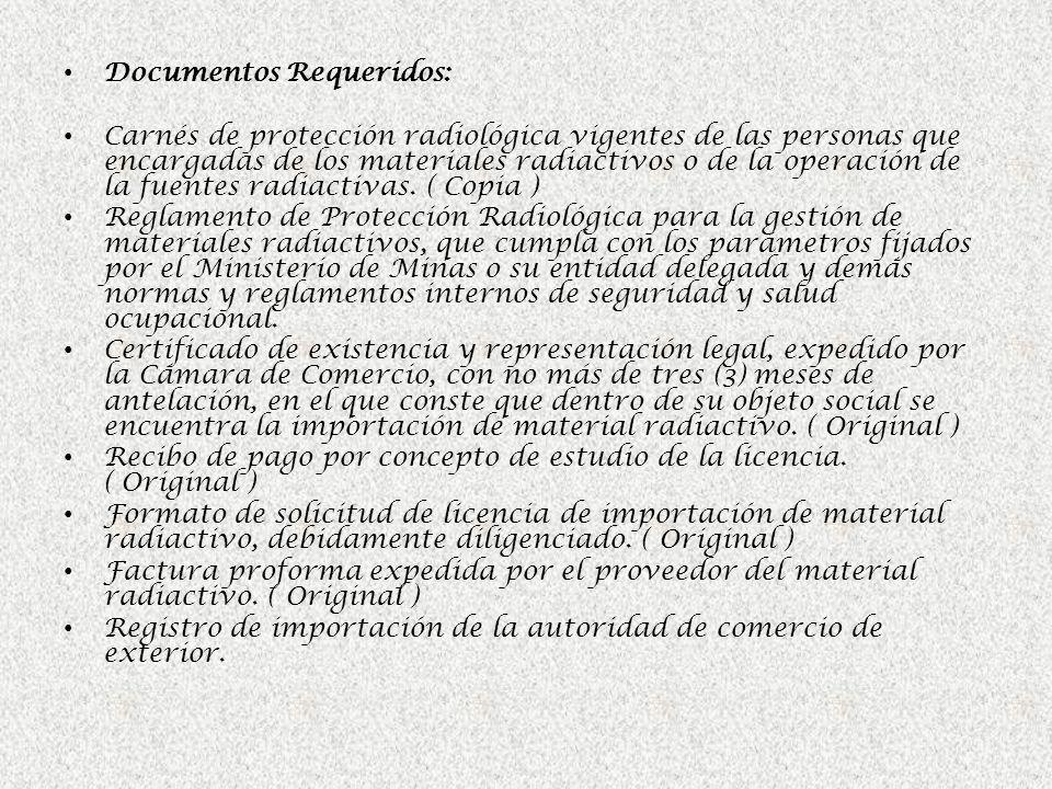 Documentos Requeridos: