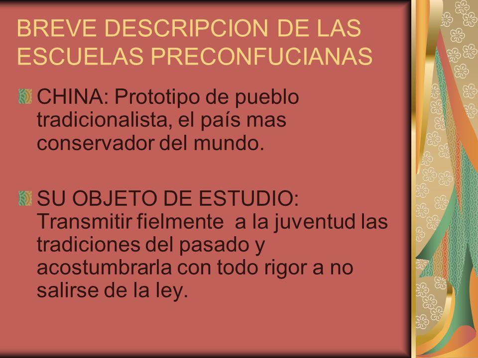BREVE DESCRIPCION DE LAS ESCUELAS PRECONFUCIANAS