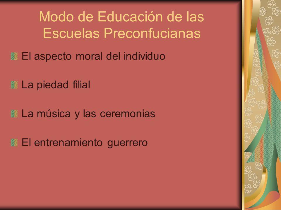 Modo de Educación de las Escuelas Preconfucianas