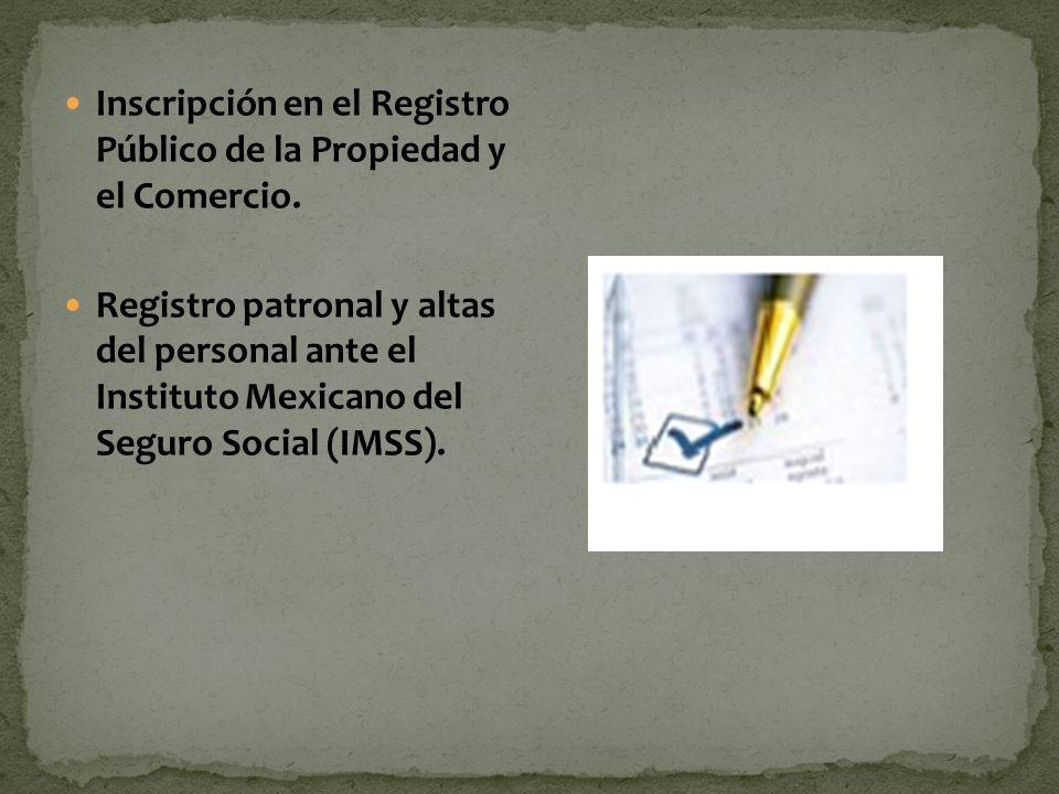 Inscripción en el Registro Público de la Propiedad y el Comercio.