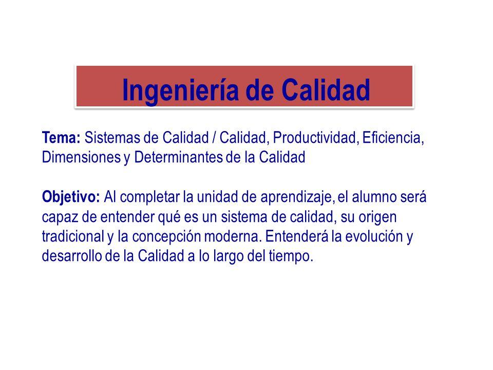Ingeniería de Calidad Tema: Sistemas de Calidad / Calidad, Productividad, Eficiencia, Dimensiones y Determinantes de la Calidad.