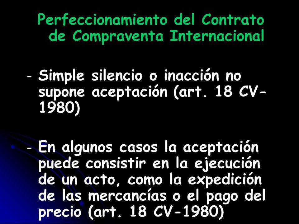 Perfeccionamiento del Contrato de Compraventa Internacional