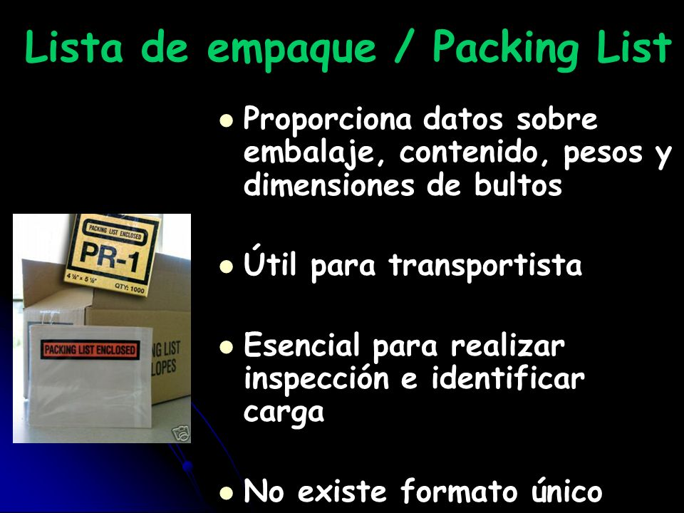 Lista de empaque / Packing List