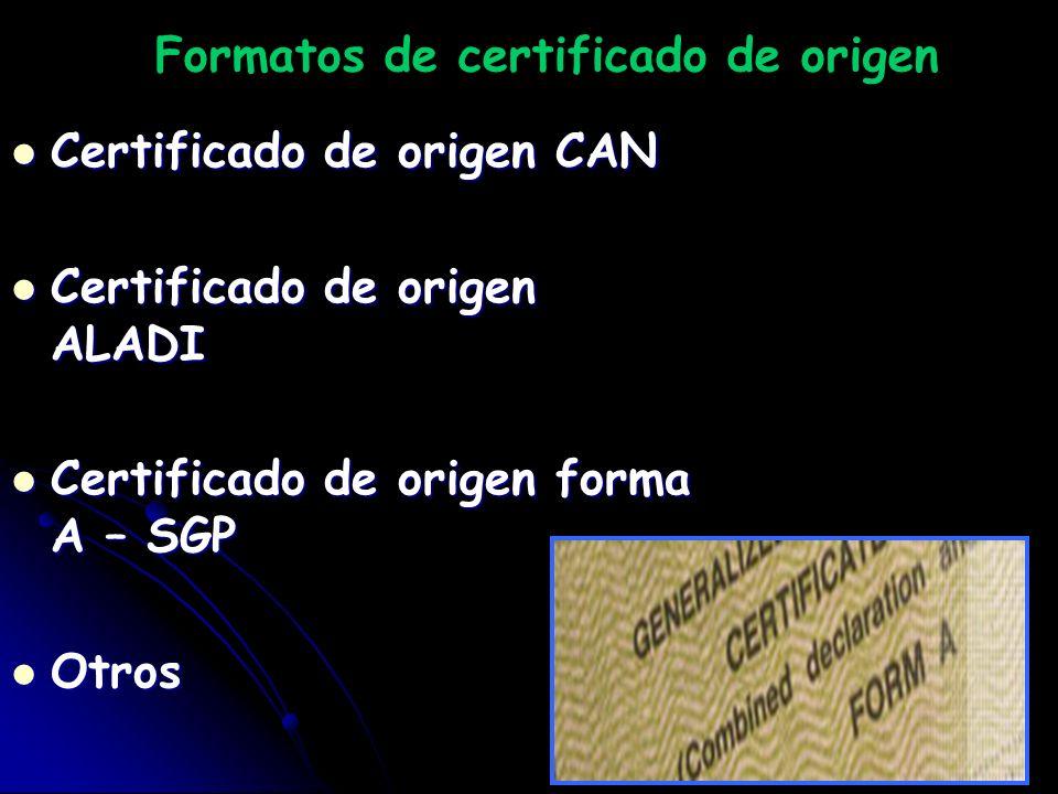 Formatos de certificado de origen