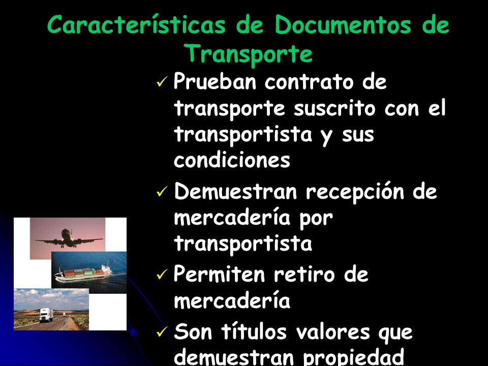 Características de Documentos de Transporte