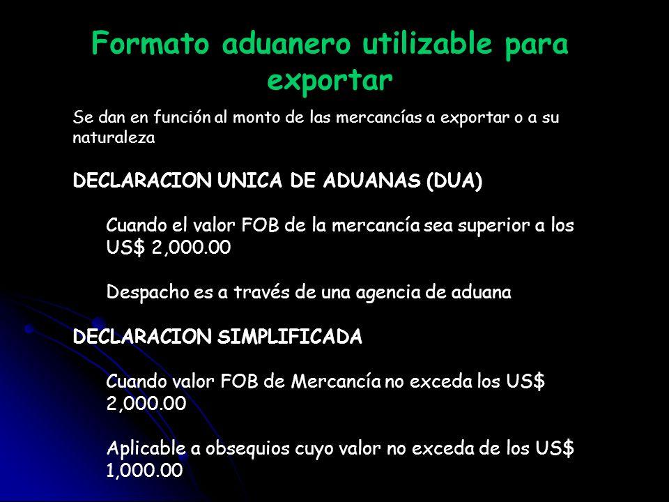 Formato aduanero utilizable para exportar