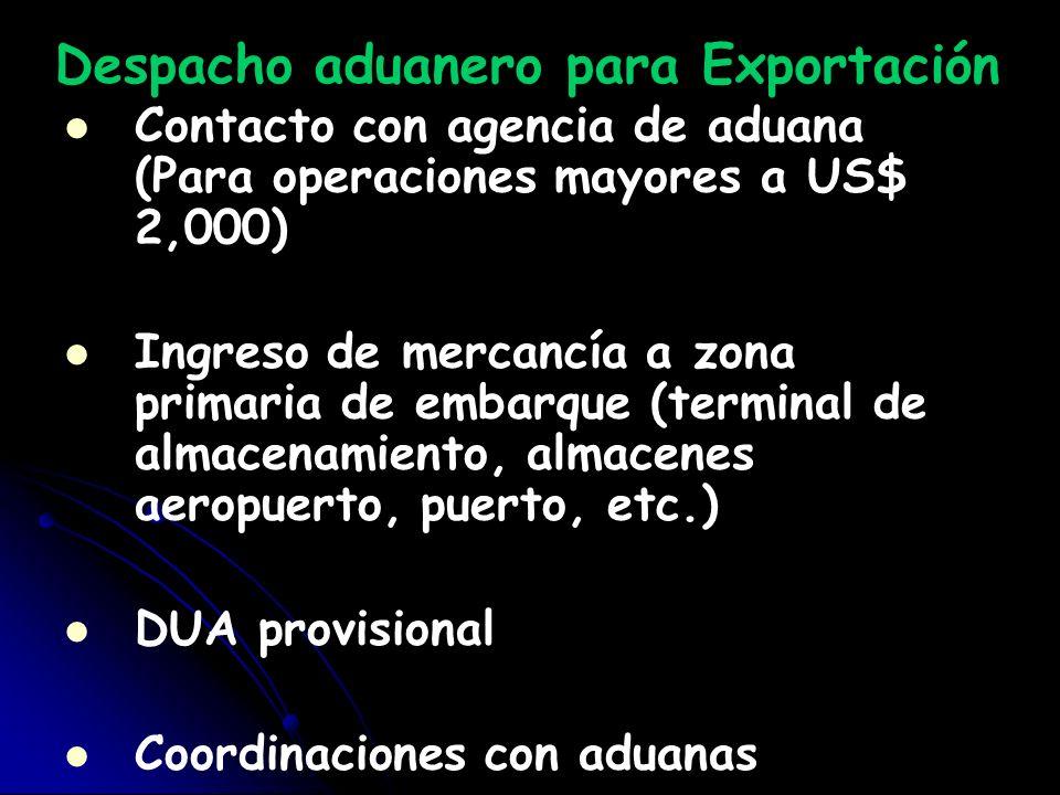 Despacho aduanero para Exportación