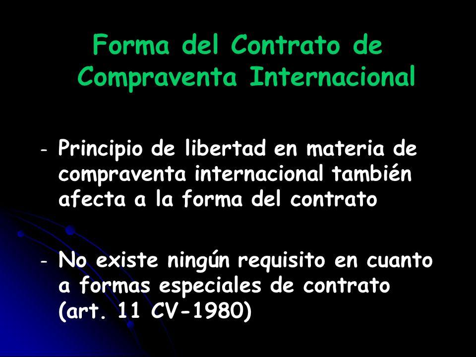 Forma del Contrato de Compraventa Internacional