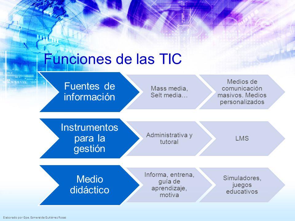 Funciones de las TIC Fuentes de información Mass media, Selt media…