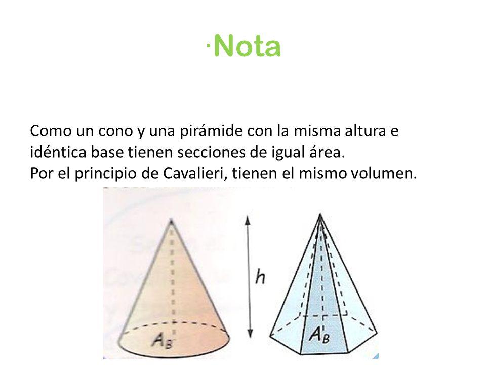 ·Nota Como un cono y una pirámide con la misma altura e idéntica base tienen secciones de igual área.
