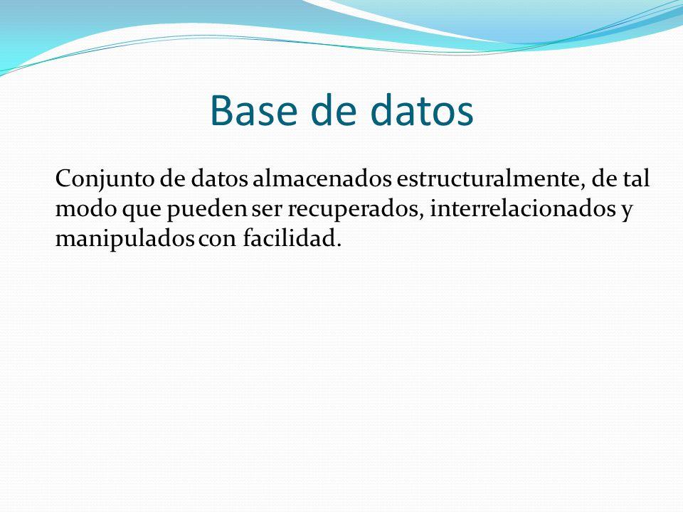 Base de datos Conjunto de datos almacenados estructuralmente, de tal modo que pueden ser recuperados, interrelacionados y manipulados con facilidad.
