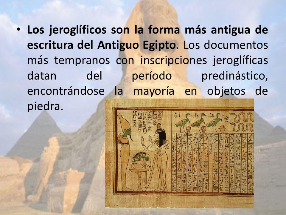 Los jeroglíficos son la forma más antigua de escritura del Antiguo Egipto.