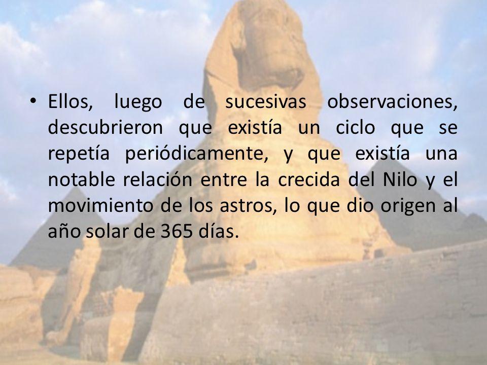 Ellos, luego de sucesivas observaciones, descubrieron que existía un ciclo que se repetía periódicamente, y que existía una notable relación entre la crecida del Nilo y el movimiento de los astros, lo que dio origen al año solar de 365 días.